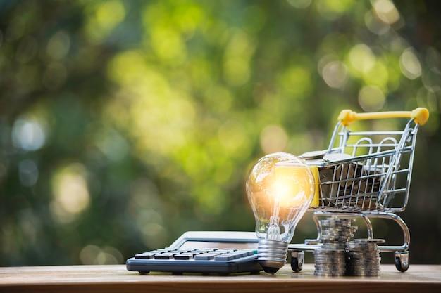 Lâmpada de poupança de energia com o conceito financeiro e comercial de carrinho de compras