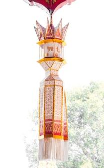 Lâmpada de tecido estilo lanna tradicional, lanterna artesanal de tecido ou yi peng, estilo lanna, norte da tailândia