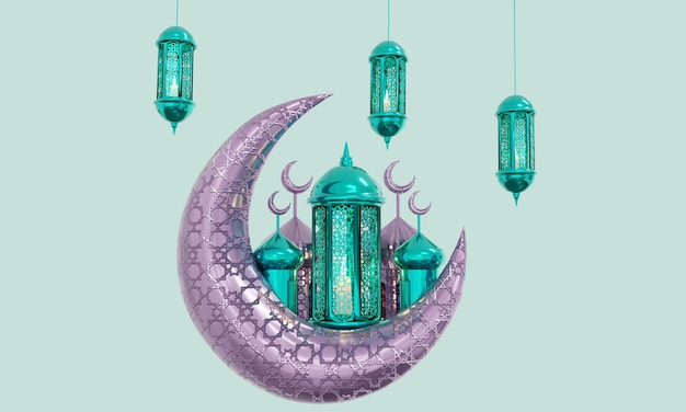 Lâmpada do ramadã com contas do rosário islâmico em fundo escuro
