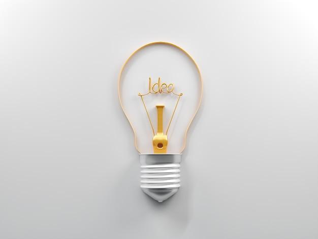 Lâmpada e ideia sobre um fundo branco.