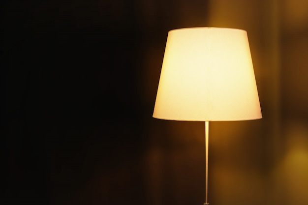Lâmpada elétrica com abajur no escuro