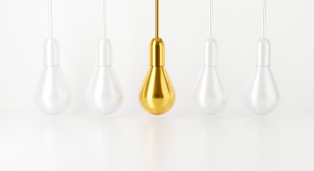 Lâmpada em fundo branco. renderização 3d para lâmpada de ideia criativa.