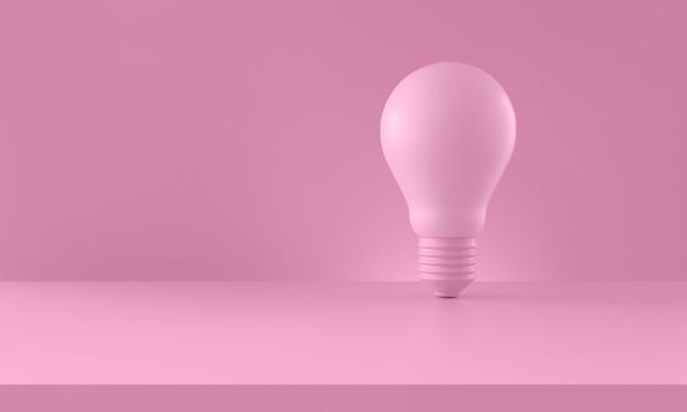 Lâmpada em fundo rosa. conceito de criatividade e inovação. composição horizontal com espaço de cópia. renderização 3d