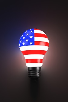 Lâmpada estilizada como uma bandeira americana. tópicos políticos