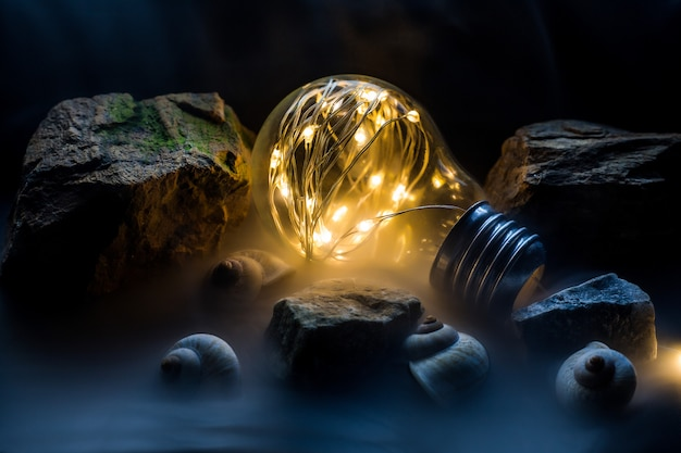 Lâmpada fantazy, lâmpada na mão, lâmpada e bokeh