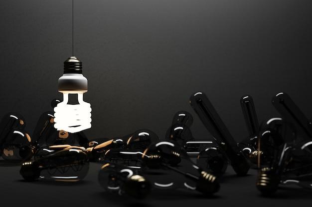 Lâmpada fluorescente brilhante led isolada em fundo de concreto preto cercado por lâmpada incandescente - renderização 3d