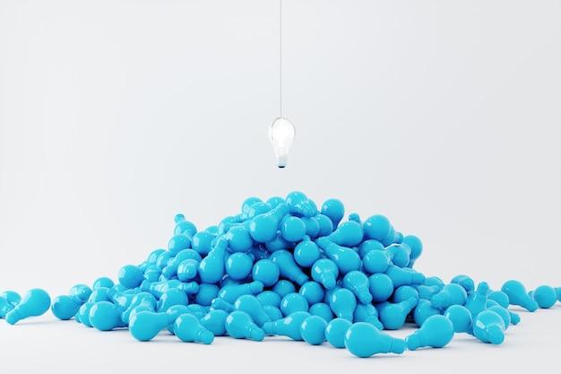Lâmpada flutuando na lâmpada de cor azul sobreposição em fundo branco. conceito de ideia mínima. renderização 3d. conceito de máquina de jogo.