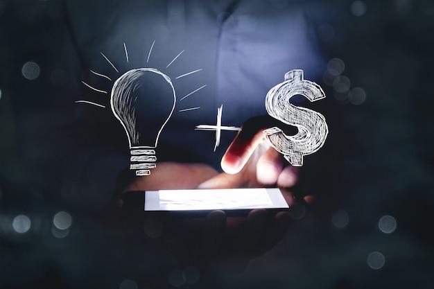 Lâmpada + ideia. conceito de negócio