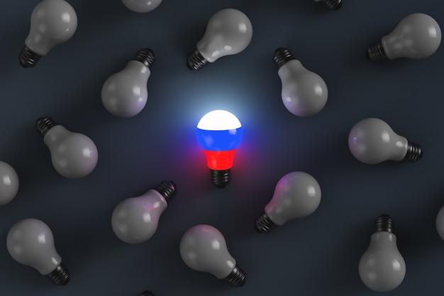 Lâmpada incandescente com bandeira russa e lâmpadas apagadas em fundo escuro