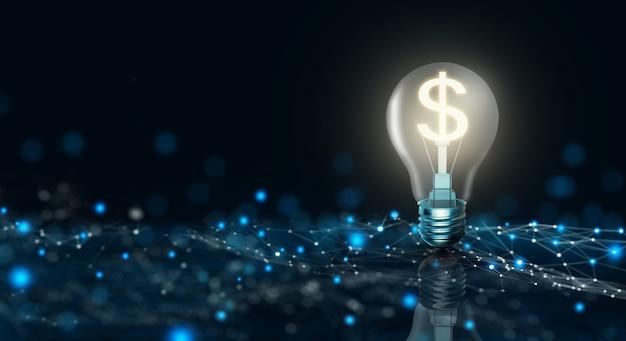 Lâmpada incandescente com cifrão dentro sobre fundo azul escuro. dinheiro que faz a ideia e o crescimento do conceito de taxa de câmbio do dólar. renderização 3d.