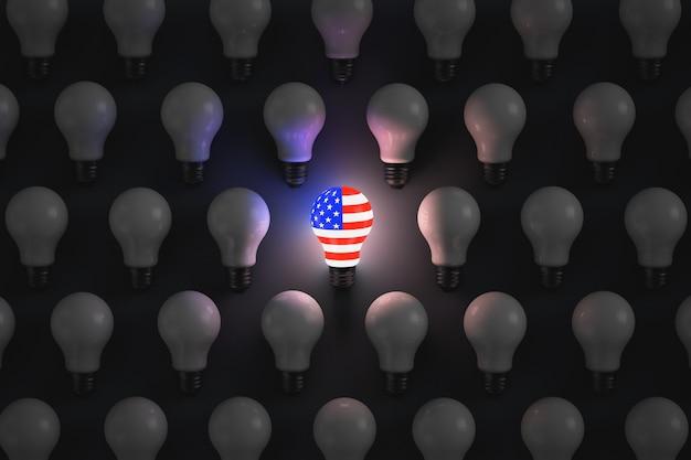 Lâmpada incandescente com o símbolo dos eua rodeada de lâmpadas não luminosas. temas políticos