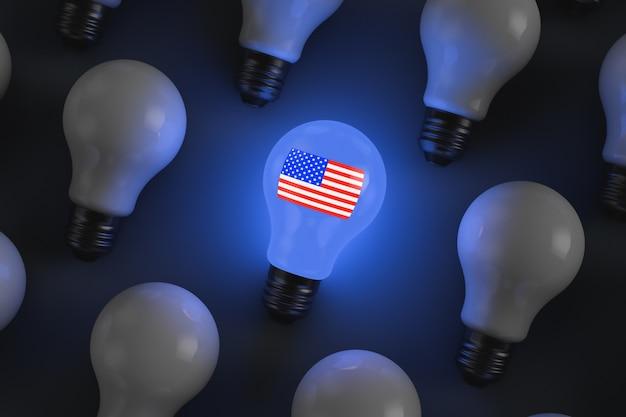 Lâmpada incandescente com símbolos americanos. bandeira americana. ilustração do tema político.
