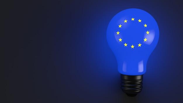 Lâmpada incandescente da bandeira da união europeia em fundo azul escuro