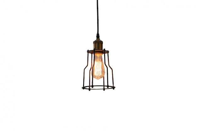 Lâmpada incandescente decorar retro lâmpada isolar em branco
