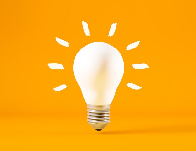 Lâmpada isolada de fundo laranja, conceito de ideia