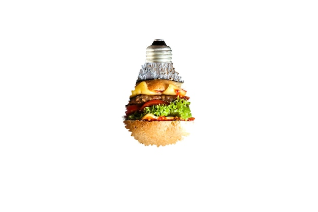 Lâmpada isolada no fundo branco. novo conceito de ideia. hambúrguer dentro do copo. anúncio de comida.