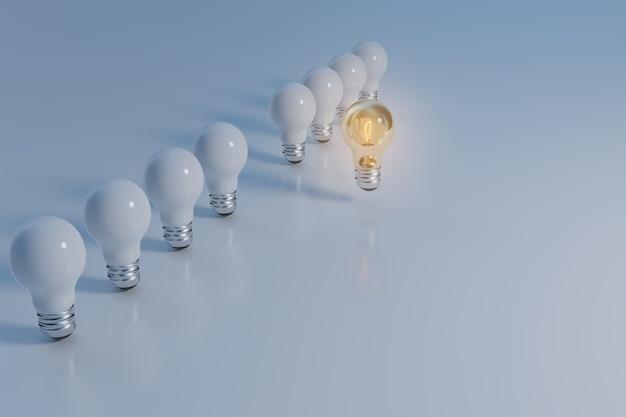 Lâmpada leva um líder de negócios e líder de corporação, renderização de ilustração 3d