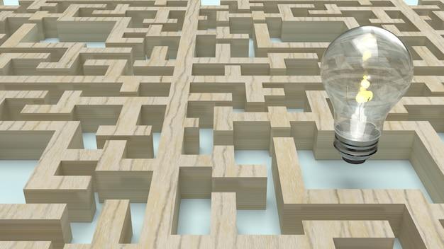 Lâmpada no labirinto de madeira