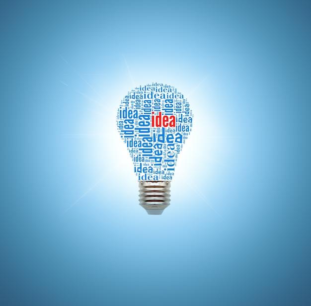 Lâmpada sobre fundo azul. conceito de ideias