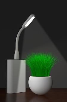Lâmpada usb led com powerbank e grama no plantador em um fundo branco. renderização 3d