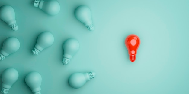 Lâmpada vermelha separada da multidão da turma lâmpada azul para uma ideia de pensamento diferente e conceito de liderança por conc de renderização em 3d