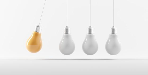 Lâmpadas amarelas com ideia criativa em diferentes lâmpadas brancas