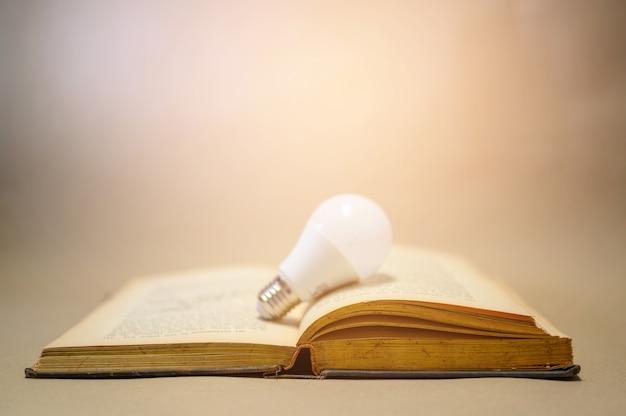 Lâmpadas colocadas em livros marrons que são abertos
