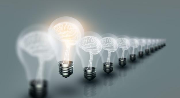 Lâmpadas com cérebro dentro e brilhando com uma ideia diferente em um fundo limpo