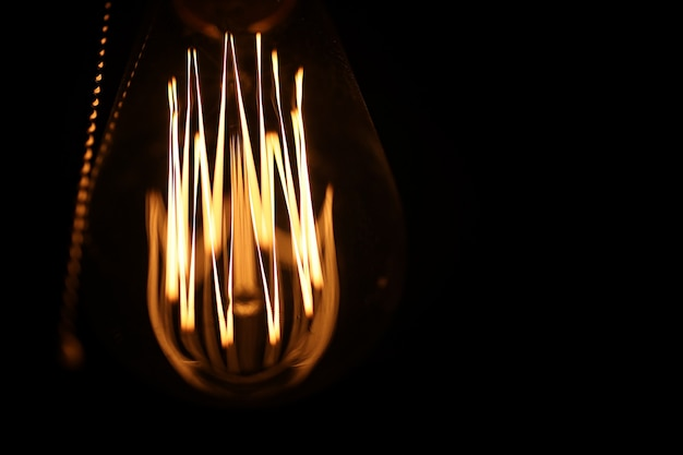 Lâmpadas com filamento de tungstênio. lâmpada edison. filamento de filamentos em lâmpadas vintage. design retro de lâmpadas.