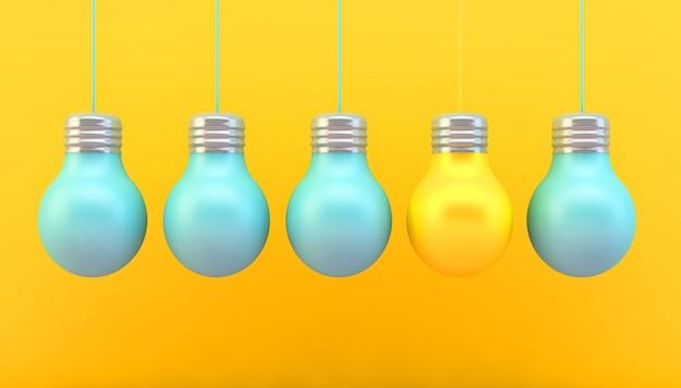 Lâmpadas conceito renderização em 3d