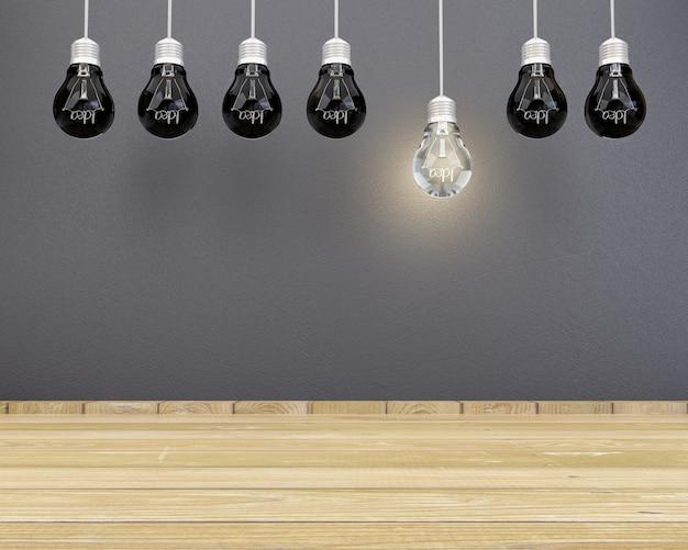 Lâmpadas de ideias iluminando o piso de ripas