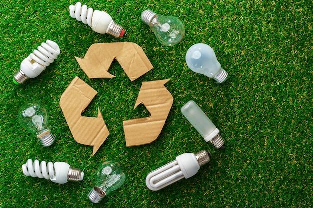 Lâmpadas economizadoras de energia ecológica na grama