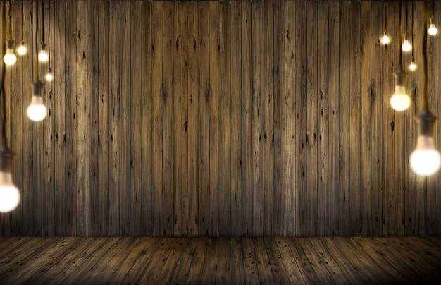 Lâmpadas em fundo de madeira.