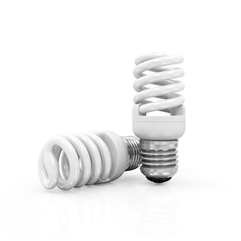 Lâmpadas fluorescentes isoladas em branco