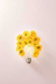 Lâmpadas para economizar energia com flores ao redor em fundo rosa