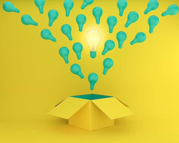 Lâmpadas verdes brilhando a idéia criativa diferente pensam fora da caixa na traseira amarela