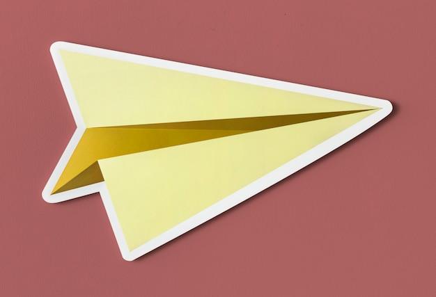 Lançamento de avião de papel cortado ícone