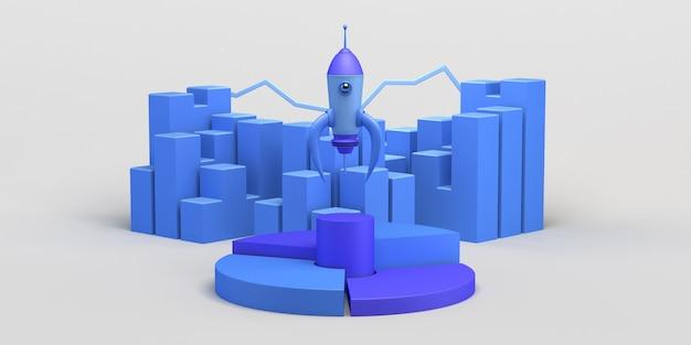 Lançamento de foguete com gráfico de barras desenvolvimento e promoção de um novo produto ou serviço startup