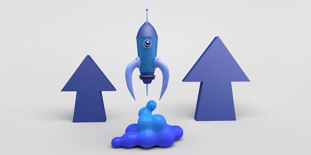 Lançamento de foguete com setas para cima ilustração 3d de inicialização