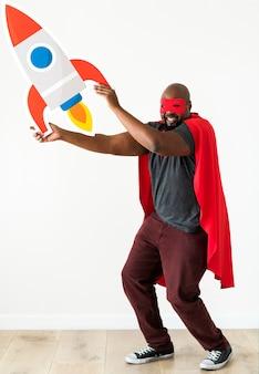 Lançamento de pequenas empresas com o conceito de super-herói