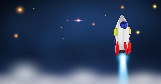 Lançamento do ônibus espacial em um espaço aberto sobre a terra. oceano e céu sob o conceito de nave espacial de negócios.