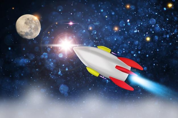 Lançamento do ônibus espacial em um espaço aberto sobre a terra.