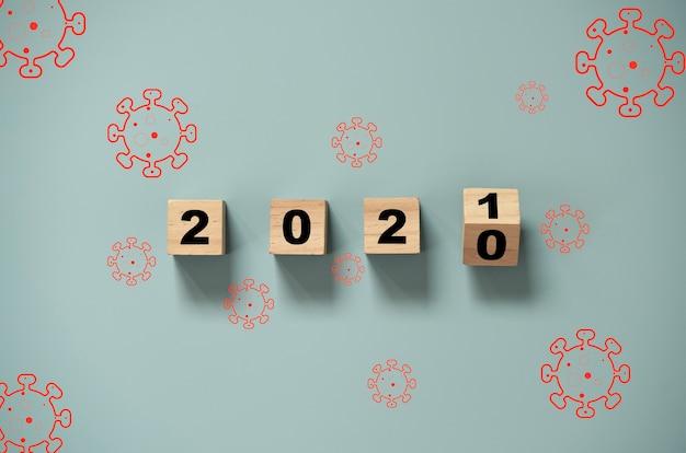Lançando o bloco de cubos de madeira para alterar o ano de 2020 a 2021 com o vírus corona. feliz ano novo juntos covid-19 ou situação de pandemia do vírus corona.