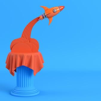 Lançar foguete de um pilar em fundo azul brilhante