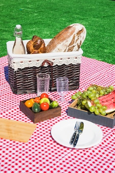 Lanche de piquenique com legumes e frutas no cobertor vermelho