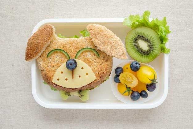 Lancheira de cachorro, divertido arte de comida para crianças