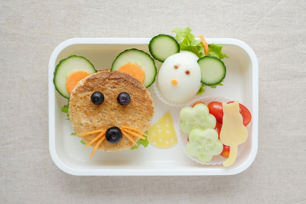 Lancheira de rato rato, divertido arte de comida para crianças