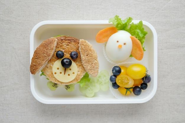 Lancheira de sanduíche de cachorro, divertido arte de comida para crianças