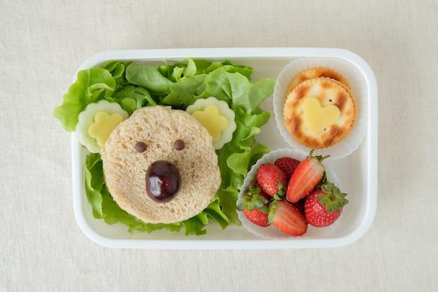 Lancheira de urso coala, arte de comida divertida para crianças