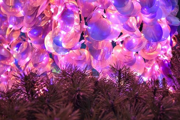 Lantejoulas rosa, lantejoulas closeup, brilhos rosa, decoração de natal